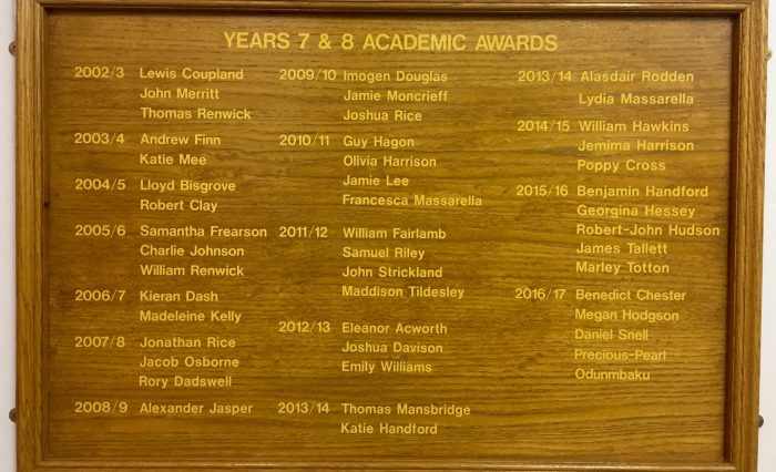 Scholarship board at Grace Dieu School