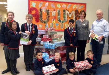 Charity at Christmas - Grace Dieu Manor School Pupils, in Leicestershire, take part in the Samaritan's Operation Christmas Child shoebox scheme.